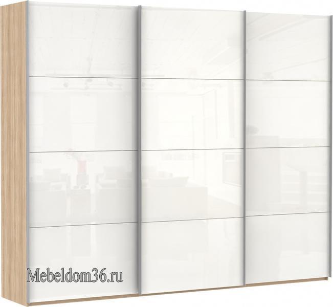 Шкаф-купе Эста 3-х дверный, 12 белых стекол