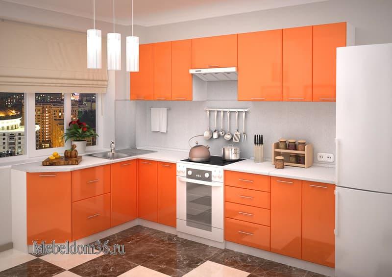 Кухня Валерия Глянец оранжевый угловая