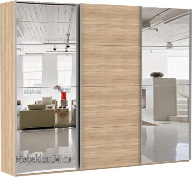 Шкаф-купе Эста 3-х дверный 8 зеркал